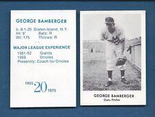 1955 Oakland Oaks PCL commemorative card GEORGE BAMBERGER (1975 Doug McWilliams)