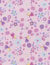 TIMELESS TREASURES FAIRY PRINCESSES SPARKLE ON PINK COTTON FABRIC BTY