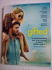 gifted w/Slipcover (Blu-Ray, DVD, Digital HD) NEW Chris Evans, McKenna Grace