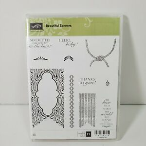 Stampin Up Beautiful Banners Stamp Set Shower Baby Wedding Thanks Love Rope Knot