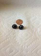 ANTIQUE SEWING-DOLL MINI FACETED BLACK GLASS & METAL BUTTONS