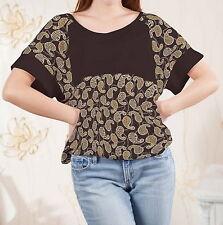 Paisley Women Loose-fitting Splicing Top Shirt Blouse b122 acr03928
