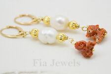 Orecchini Corallo Rosso Naturale Perle Argento 925 Gioielli Unici e Preziosi