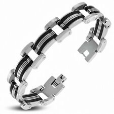 Bracelet for Men Steel And Rubber Black Links Panther