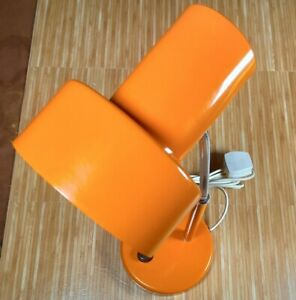 Pifco Table Lamp Mid Century Orange Tangerine metal desk Model No 986.  1970s