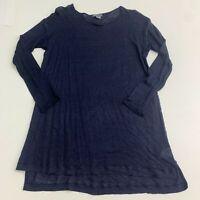 Vince Tunic Sweater Women's M Navy Blue Knit Long Sleeve Pullover 100% Linen