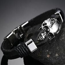 Cool Punk Rock Men's Black Durable Leather Bracelets Gothic Skull Cuff Bangle