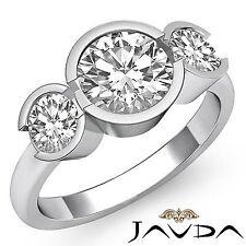 3 Stone Bezel Set Round Diamond Engagement Ring GIA F SI1 14k White Gold 1.6ct