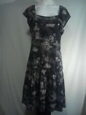 Colorado Ladies Dress in Charcoal with a Floral Abstract Print - Size 10