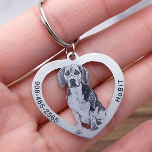 Personalised Dog Portrait ID Tag Custom Pet Id Tag Customize Pet Photo Name Tag