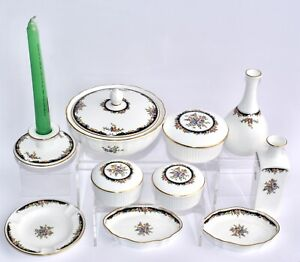 10 Pieces - Wedgwood OSBORNE Dressing Table Set, Incl Vases, Candlestick, Boxes