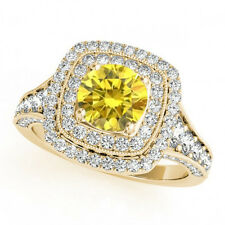 1.33 Ct Fancy Vivid Yellow Natural Diamond Solitaire Ring 14k Yellow Gold Deal