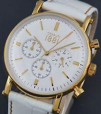 Cerruti señores reloj Chrono chronograph oro blanco, nuevo cra110sgo1wh PVP * 249 € c210