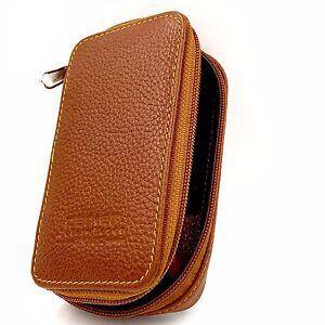 Parker Genuine Leather Zippered Safety Razor & Double Edge Blade Travel Case