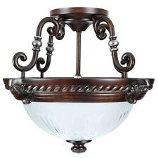2-Light Bronze Semi-Flush Mount Ceiling Light Fixture Pendant Lamp Elegant Decor