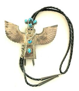 Large Sterling Silver & Turquoise Kachina Bolo Tie