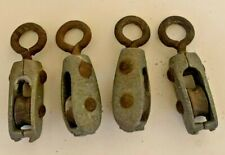 Lot of 4 Small Cast Iron Vintage Pulleys Rigging Rope Hardware Steampunk Lamp