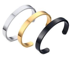 Hot selling Men Women Cuff Bangle Stainless Steel Half Open Bracelet 8mm wide