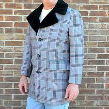 WEATHERCASTER Plaid Coat Faux Fur Lined Mens Size 40 Made in the USA Hipster