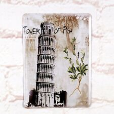 Tower Of Pisa Poster Tin Antique Metal Signs Home Pub Bar Wall Decor