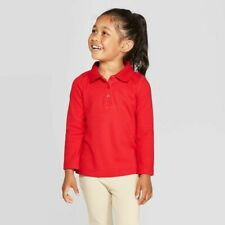 Cat & Jack Toddler Girls Long Sleeve Interlock Uniform Polo Shirt -Red 3T