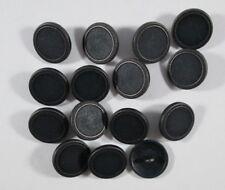 4421bl-23 5 edle dunkelblaue Lederknöpfe mit Metall-Öse in klassischer Optik