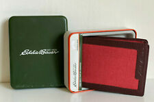 NEW! EDDIE BAUER RED BROWN CONTINENTAL BILLFOLD BIFOLD PASSCASE WALLET SALE