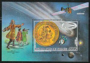Guinea 1986 Souvenir Sheet Sc 990 Halley's Comet 600Fr value ** Giotto probe