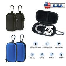 US 2Pcs Earphone Storage Case Bag Zipped Earbud Headphone Protector Box Pouch