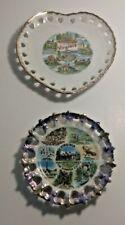 """(2) Vintage Souvenir Virginia State Plates - 6"""" & 5"""" Diameters - Made in Japan"""