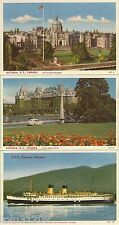 Set of 3 Vintage Chrome Postcards: Victoria Bc, Canada-db/unposted