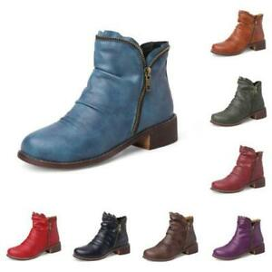 10 Colors Women Pu Leather Chelsea Western Low Heel Comfort Ankle Boots Pumps D
