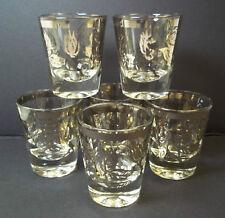 Silver deposit shot glasses roses rosebuds vintage Utd Glass Set 6 MCM