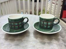 Iden Pottery Rye Green coffee Cup & Saucer x 2