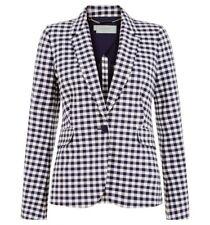 Ex Hobbs Ladies Blue Marlowe Jacket Blazer Checked Size 10