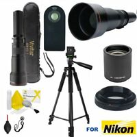 TELEPHOTO ZOOM LENS 650MM-2600MM + 60' TRIPOD FOR NIKON D3100 D3200 D3300 D5000