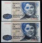 020-INDALO- Banco de España. Pareja 500 Pesetas Octubre 1979. Sin serie. SC/UNC