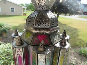 Gorgeous Antique Vintage Pierced Tin Stained Glass Moroccan Hanging Candle Light
