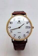 9ct gold Royal London Gents Quartz Watch Brown Leather Strap (2787)