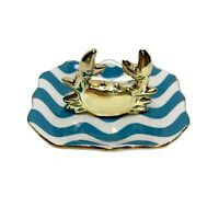 Crab Ceramic Ring Dish Nautical Blue Striped Trinket Tray Holder Gold Accents