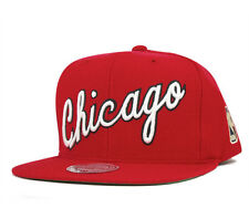 Chicago Bulls Mitchell & Ness Solid Wool Wordmark Script Snapback Hat Cap - Red
