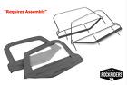 1997-2006 Jeep Wrangler Soft Top Upper Door Windows With Frame Black Pair