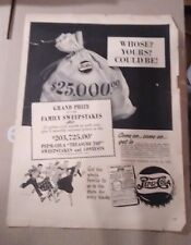 PEPSI COLA COMPANY ADVERTISEMENT VINTAGE VAULT $25,000 GREAT FOR ANY COLLECTION!