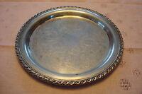 "Oneida Vintage silverplate etched round tray 12"" diameter"