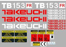TAKEUCHI TB153FR MINI BAGGER KOMPLETTE AUFKLEBER SATZ MIT SICHERHEIT-WARNZEICHEN