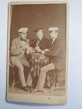 Braunschweig - 1870 - 3 Studenten in Couleur beim Karten spielen - Corps ? / CDV