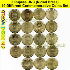 Very Rare 19 Different Nickel Brass 5 Rupees Commemorative Five Rupees Coins Set