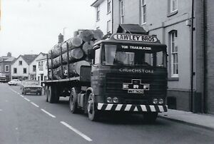 B/W PHOTO: LAWLEY BROS ERF B SERIES ARTIC TIMBER TRAILER - WNT 742S
