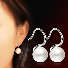 Women Fashion Jewelry 925 Sterling Silver Pearl Ball Drop Earrings Xmas Gift