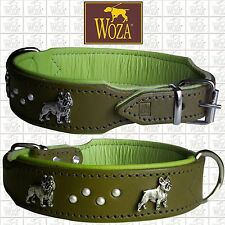 Premium Dog Collar French Bulldog WOZA full Leather Padded Genuine Cow Napa HF29